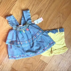 NWT Little Lass Chambray Top with matching Shorts